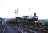 View east at Bathgate Upper on 16 October 1965 as No 49 <I>Gordon Highlander</I> prepares to depart with a Branch Line Society Railtour bound for St Enoch.<br><br>[Robin Barbour Collection (Courtesy Bruce McCartney)&nbsp;16/10/1965]