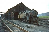 Looking the worse for wear, one of Beattock's final stud of steam bankers, Fairburn 2-6-4T no 42688, stands outside the shed not long before withdrawal in May 1965. The locomotive was cut up at Motherwell Machinery & Scrap, Wishaw, in July of that year.<br> <br><br>[Robin Barbour collection (Courtesy Bruce McCartney)&nbsp;//1965]