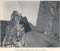 Construction of the Great Siberian Railway between Vladivostock and St Petersburg and eventually Murmansk. The cutting through Dergach Mountain. Photo by Arsentiev. [Extract from GSR Guide of 1900]<br><br>[Alistair MacKenzie&nbsp;//2009]