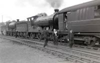 The RCTS <I>Borders Railtour</I> photographed at Jedburgh on 9 July 1961 behind ex-NBR no 256 <i>Glen Douglas</i> and J37 no 64624.<br><br>[Robin Barbour Collection (Courtesy Bruce McCartney)&nbsp;09/07/1961]