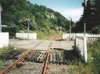 Looking towards Alloa at Waterside level crossing in July 1996 during the long wilderness years.<br><br>[David Panton&nbsp;/07/1996]