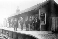 Old photograph sent in by Ian Steele taken at Coalburn, Lanarkshire, around 1925. On the right is Ian's father Tom Steele (1905-1979) who started work here as a booking clerk. Tom Steele went on to become the country's youngest Station Master before being elected Member of Parliament for Lanark in 1945. He later served as MP for Dunbartonshire West before finally retiring in 1970.<br><br>[Ian Steele Collection&nbsp;//1925]