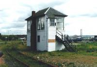 The signal box at Rosyth Dockyard in July 2002, before it was (literally) ring-fenced.<br><br>[David Panton&nbsp;01/07/2002]