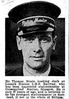 Clipping from the <I>Glasgow Evening News</I> of 26 September 1933 concerning the appointment of Tom Steele as station master at Crossmyloof. [See image 22155]<br><br>[Ian Steele Collection&nbsp;16/10/2013]