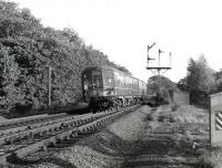 The 1516 Carnforth - Carlisle DMU passes the former Eamont Bridge Junction, just south of Penrith, in September 1967. The trackbed on the right is the remains of the south to west link from the Lancaster and Carlisle at Eamont Bridge Junction to the Cockermouth, Keswick & Penrith at Redhills Junction, put in by the North Eastern Railway in 1866 to provide through running between the east and west coasts via the Stainmore line. The link was closed in 1936.<br><br>[Colin Miller&nbsp;25/09/1967]