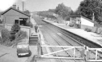 Looking north over the level crossing at Cleghorn station on the WCML towards Glasgow around 1944. The station closed to passengers in January 1965.<br><br>[Ian Steele Collection&nbsp;//1944]