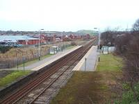Roose, on the outskirts of Barrow in Furness, has been reduced to basic facilities but still enjoys a reasonable service of trains between Barrow and Lancaster. The housing development that can be seen in this picture should assist patronage. View towards Furness Abbey and Dalton. <br><br>[Mark Bartlett&nbsp;17/01/2009]