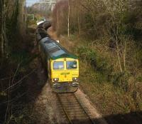Freightliner 66585 drifts through the former Ashton Gate station on the Portbury branch heading in the direction of Bristol Temple Meads with a trainload of imported coal on 22 January 2009. The Clifton Suspension Bridge can be seen spanning the Avon Gorge in the background.<br><br>[Peter Todd&nbsp;22/01/2009]