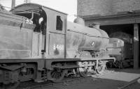 Class J37 no 64611 at Dunfermline shed in the mid 1960s, with one of <I>the new order</I> standing beyond. As the diesels continued to arrive, so the steam locomotives continued to disappear. 64611 was eventually withdrawn in April of 1967.<br><br>[Robin Barbour Collection (Courtesy Bruce McCartney)&nbsp;//]