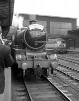 The LCGB <I>Thames - Tyne Limited</I> stands at Carlisle on 3 June 1967. Jubilee 45562 <I>Alberta</I> is about to haul the special as far as Newcastle where 4472 <I>Flying Scotsman</I> will take over for the return leg to Kings Cross. In the background Brush Type 4 no D1837 stands at platform 4 with the up <I>Royal Scot</I>. <br> <br><br>[Robin Barbour Collection (Courtesy Bruce McCartney)&nbsp;03/06/1967]