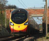A southound Pendolino at speed at Woodacre, Lancs, on the West Coast Main Line on 24 January.<br><br>[John McIntyre&nbsp;24/01/2009]