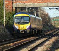 185113 with a First TransPennine Express service for Barrow-in-Furness heading north on the WCML on 24 January 2009 towards its next stop at Lancaster. <br> <br><br>[John McIntyre&nbsp;24/01/2009]
