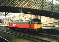 47722 <I>The Queen Mother</I> stands under the footbridge on one of the centre roads at Carlisle in October 1998.<br> <br><br>[David Panton&nbsp;15/10/1988]