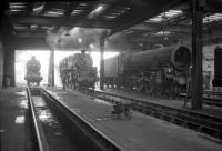 Inside looking out. Dunfermline shed in 1966, with J37 64611, Standard Class 4 76110 and B1 61262 in attendance.<br><br>[Robin Barbour Collection (Courtesy Bruce McCartney)&nbsp;//1966]