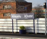 Once every station had run-in boards but when British Railways became British Rail in 1965 and the signage changed, run-in boards were not generally replaced and very few stations now have them.� Kirkcaldy is among that small number and has just had the boards replaced with a prominent <i>Scotland's Railway</i> tag and logo, seen here on 31 January 2009.� The sign behind it must have puzzled many people over the years as Dundee is over 30 miles away <br> <br><br>[David Panton&nbsp;31/01/2009]
