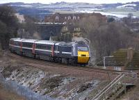 The 09.52 Aberdeen-Kings Cross NXEC service climbs away from Inverkeithing Tunnel on 5 February, a view only possible since clearance of vegetation last year.<br><br>[Bill Roberton&nbsp;05/02/2009]
