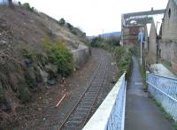 View north along the Rosyth Dockyard branch approaching Inverkeithing South Junction on 29 January 2009. The main line runs parallel within a tunnel on the left at this point.<br><br>[David Panton&nbsp;29/01/2009]