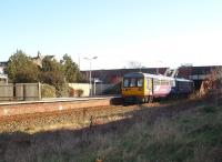 Ansdell and Fairhaven was formerly an island platform with through roads on either side but is now reduced to a single line using the old down side only. Northern Pacer 142015 calls on its way to Blackpool South. <br><br>[Mark Bartlett&nbsp;07/02/2009]