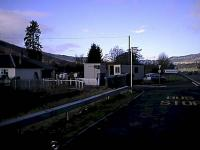 Moulinearn Level Crossing looking to Inverness. The photograph was taken not long after an accident here and a portacabin was permanently manned by the crossing for safety. The crossing is hard by the A9.<br><br>[Ewan Crawford&nbsp;06/02/2002]