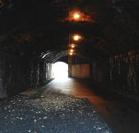Interior of the Ladhope Tunnel looking towards Galashiels station in 2009 showing the alteration to the southern portal ... which will probably need undoing ... [see image 44671]<br><br>[Ewan Crawford&nbsp;17/01/2009]