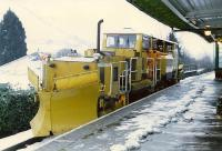 An exuberant driver of a snowplough at Arrochar and Tarbet station.<br><br>[Ewan Crawford&nbsp;//1989]
