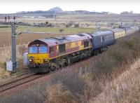 Pathfinder <I>Forth McFreighter</I> railtour approaching Drem Junction off the North Berwick branch on 8 February 2009. EWS 66039 leading the Way, with 66201 bringing up the rear.<br><br>[Bill Roberton&nbsp;08/02/2009]