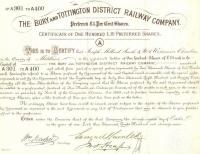 Share certificate issued by the Directors of the Bury and Tottington  District Railway Company to Joseph Melland Smith on the twenty-eighth day of October in the year of our Lord one thousand eight hundred and seventy nine. The line opened 3 years later in November 1882.<br> <br><br>[Ian Dinmore&nbsp;//1879]
