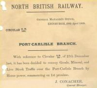 North British Railway GM Circular no 100 regarding the Port Carlisle branch, issued on 29 April 1899.<br><br>[Ian Dinmore&nbsp;12/04/2007]