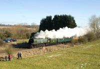 Bulleid <I>Battle of Britain</I> Pacific no 34067 <I>Tangmere</I> on the approach to Hungerford station on 14 February 2009. The Pacific was heading a special from Paddington to Yeovil and return.<br><br>[Peter Todd&nbsp;14/02/2009]