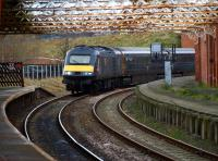 Grand Central Railway 43076 leads the 1230 Sunderland - Kings Cross service as it arrives at Hartlepool on 17 February 2009. <br><br>[Brian Forbes&nbsp;17/02/2009]