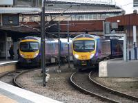 A pair of class 185 DMUs standing at platforms 9 and 10 at York on 17 February.<br><br>[Brian Forbes&nbsp;17/02/2009]