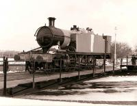 Ex-GWR 2-6-2T NO 5542 (or most of it) on the turntable at Didcot in February 1985.<br><br>[Peter Todd&nbsp;17/02/1985]