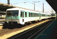 Two generations of multiple units stand at Augsburg, Germany, in June 1990. <br> <br><br>[John McIntyre&nbsp;/06/1990]