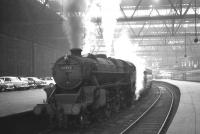 Black 5 no 45492 of Carstairs shed prepares to take the 1.20pm service to Lanark out of Princes Street on 3 September 1965.<br><br>[K A Gray&nbsp;03/09/1965]