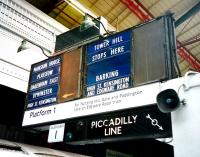 The venerable (and basic) departure board on the eastbound District Line Platform 1 at Earls Court in July 1994.<br><br>[David Panton&nbsp;/07/1994]