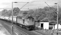 5367 with a West Highland Line service for Glasgow Queen Street passing through the east end of Cardross in May 1972. The garden on the right was part of the former stationmasters house.<br><br>[John McIntyre&nbsp;/05/1972]
