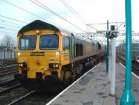 Freightliner 66513 heads north through Carlisle station with coal empties on 19 February 2009.<br><br>[Colin Alexander &nbsp;19/02/2009]