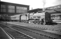 Patriot 4-6-0 no 45509 <I>The Derbyshire Yeomanry</I> pulls into platform 4 at Carlisle in July 1960 with an up <I>CTAC Scottish Tours Express</I>.<br><br>[Robin Barbour Collection (Courtesy Bruce McCartney)&nbsp;09/07/1960]