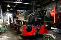 Black, Hawthorn & Co 0-4-0ST no 266 <i>Wellington</i> receives attention inside Marley Hill shed on the Tanfield Railway in 2006. The oldest locomotive on the site, <I>Wellington</I> dates from 1873.<br><br>[John Furnevel&nbsp;09/05/2006]