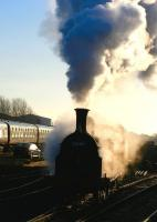 Sun, smoke and steam. 55189 at Boness with a photo-charter on 24 February 2009.<br><br>[John Robin&nbsp;24/02/2009]