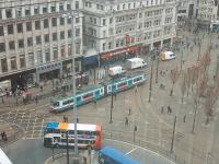 Metrolink tram 1024 takes the direct line in Piccadilly Gardens on a Bury to Altrincham service. The other lines are the links to the Piccadilly Station branch. View from nearby City Tower.<br><br>[Mark Bartlett&nbsp;25/02/2009]