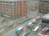 A Metrolink tram rolls into Piccadilly Gardens, in Manchester City Centre, from Piccadilly Station. From here it will either turn right for Bury or left for Altrincham or Eccles. View from nearby City Tower. [see image 29737] for an update.<br><br>[Mark Bartlett&nbsp;25/02/2009]