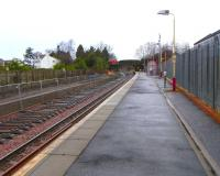 Dunlop station, looking north on 26 February 2009, showing progress on the <I>dynamic loop</I> and new (or rebuilt) northbound platform.  The name <I>dynamic loop</I> sells this a bit short as it's really the reinstatement of several miles of double track covering two stations, the other being Stewarton, and extending to and incorporating the existing loop at Lugton to the north.  This will allow a half-hourly service between Glasgow and Kilmarnock, rather than the current often overcrowded hourly service.<br><br>[David Panton&nbsp;26/02/2009]