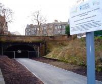 View along the trackbed of the Edinburgh, Leith and Newhaven Railway on 26 February from the north end of Rodney Street tunnel where reopening work is well advanced. The south end exit into the former Scotland Street station and King George V park can now be clearly seen. On the right are the remains of the old Heriothill goods facilities.    <br> <br><br>[Andy Furnevel&nbsp;26/02/2009]