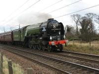 A1 Pacific <I>Tornado</I> seen just�west of Longniddry on 28 February hauling the <I>Auld Reekie</I>.<br> <br><br>[Mark Poustie&nbsp;28/02/2009]