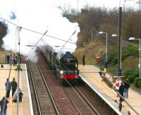 A1 Pacific 60163 <I>Tornado</I> runs west through Wallyford on 28 February with the <I>Auld Reekie Express</I> bound for Edinburgh Waverley. [The plate being carried above the buffer beam is a tribute to the late Wreford Voge, a former partner with Ernst & Young and Trustee of the A1 Steam Locomotive Trust from its formation until his recent death.]  <br> <br><br>[John Furnevel&nbsp;28/02/2009]
