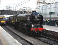 A1 Pacific 60163 <I>Tornado</I> arrives at Waverley platform 2 on 28 February 2009 with the <I>Auld Reekie Express</I> from York. <br> <br><br>[David Panton&nbsp;28/02/2009]