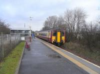 The dynamic loop from Lugton to the north will stop short of Kilmaurs, which is just as well as clearly no thought was given to a possible future redoubling when the station was reopened a generation ago. Some expensive and disruptive work would be needed here!� 156 514 is seen at the station on 26 February with a Kilmarnock service.<br><br>[David Panton&nbsp;26/02/2009]