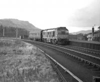 The 1610 from Aberfeldy arriving at the branch platform at Ballinluig in February 1964 behind D5125.<br><br>[Robin Barbour Collection (Courtesy Bruce McCartney)&nbsp;01/02/1964]