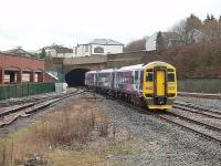 Blackburn tunnel lies immediately east of the station, as can be seen in this 2009 view, taken from the end of the island platform, of 158756 just departing on a Blackpool North to York service. [See image 26964]  <br><br>[Mark Bartlett 03/03/2009]